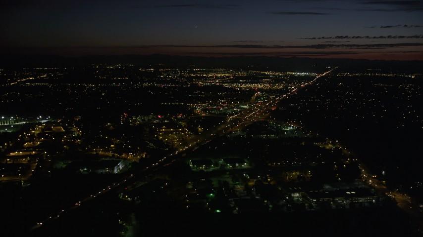 5K aerial video of approaching Highway 26, Beaverton, Oregon, night Aerial Stock Footage | AX55_065