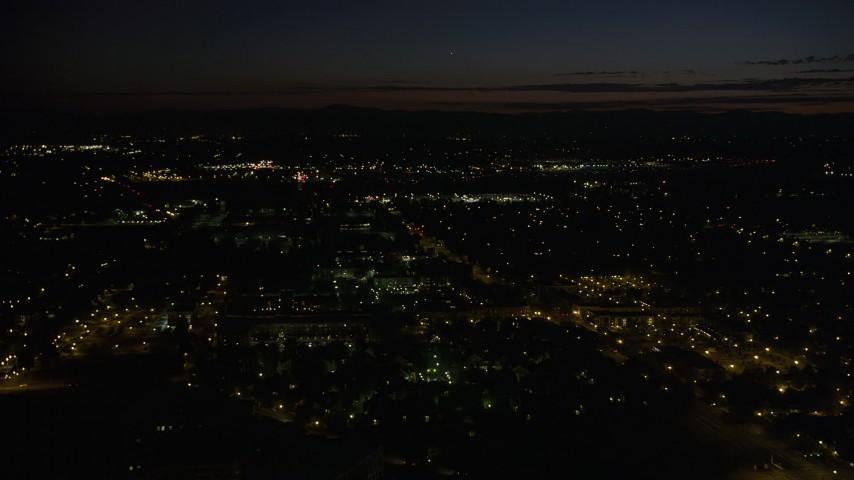 5K stock footage aerial video of flying over neighborhood in Hillsboro, Oregon, night Aerial Stock Footage | AX55_070
