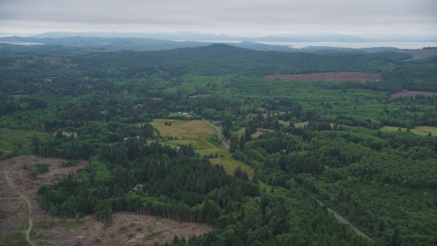 5K stock footage aerial video of a farm field beside a country road, evergreen forest, and clear cut areas in Clatsop County, Oregon Aerial Stock Footage | AX56_062