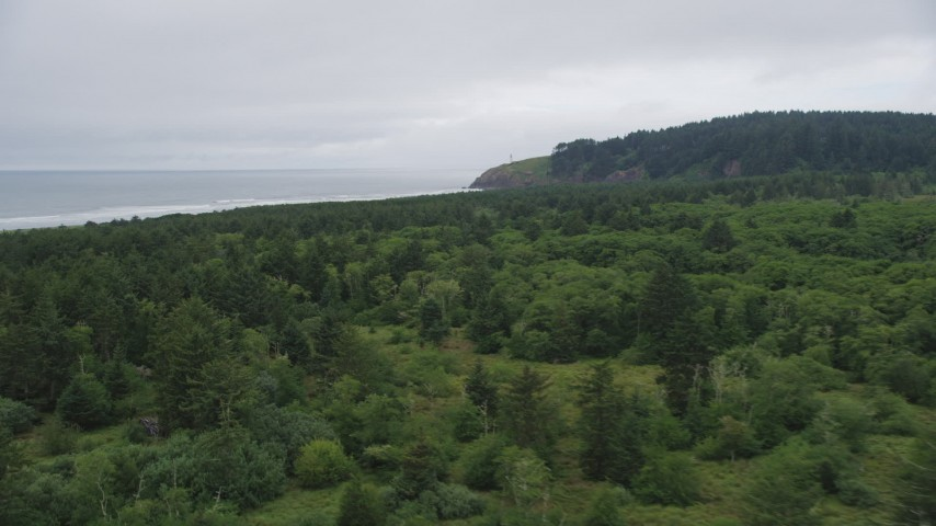5K stock footage aerial video fly over Cape Disappointment State Park toward North Head Light, Ilwaco, Washington Aerial Stock Footage | AX56_103