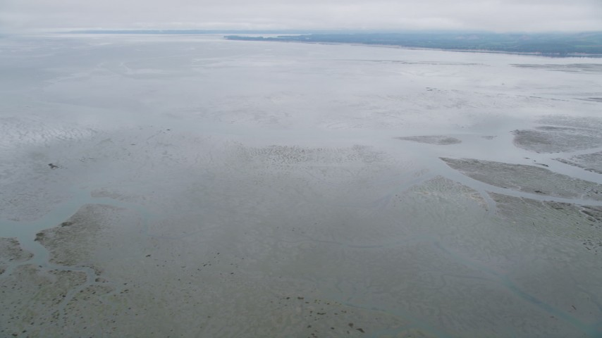 5K stock footage aerial video of a view of Willapa Bay, Washington from wetlands on the shore Aerial Stock Footage | AX56_153