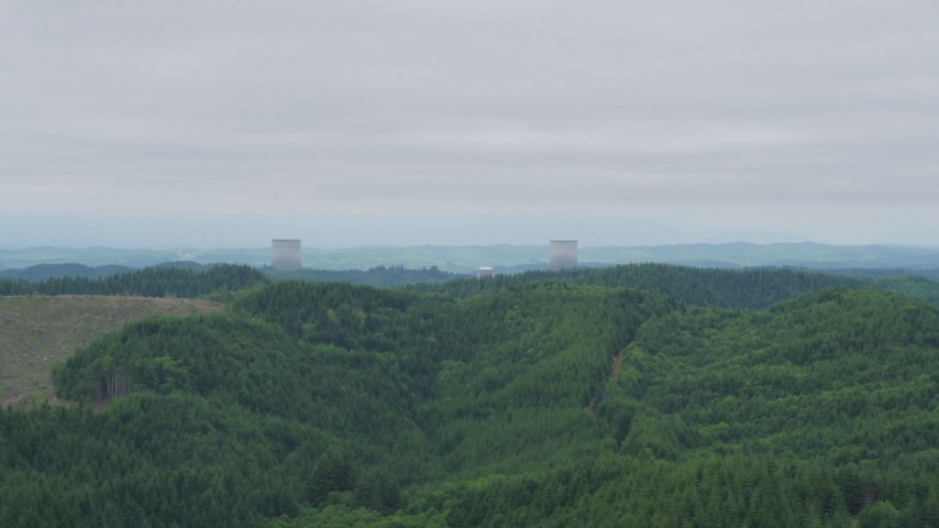 5K stock footage aerial video of the cooling towers of the Satsop Nuclear Power Plant, Satsop, Washington Aerial Stock Footage | AX57_001