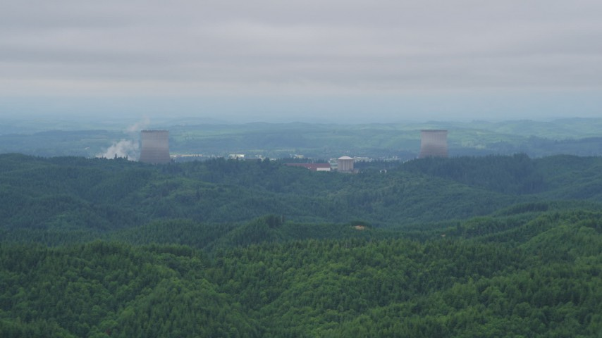5K stock footage aerial video of a view of the Satsop Nuclear Power Plant cooling towers, Satsop, Washington Aerial Stock Footage | AX57_004
