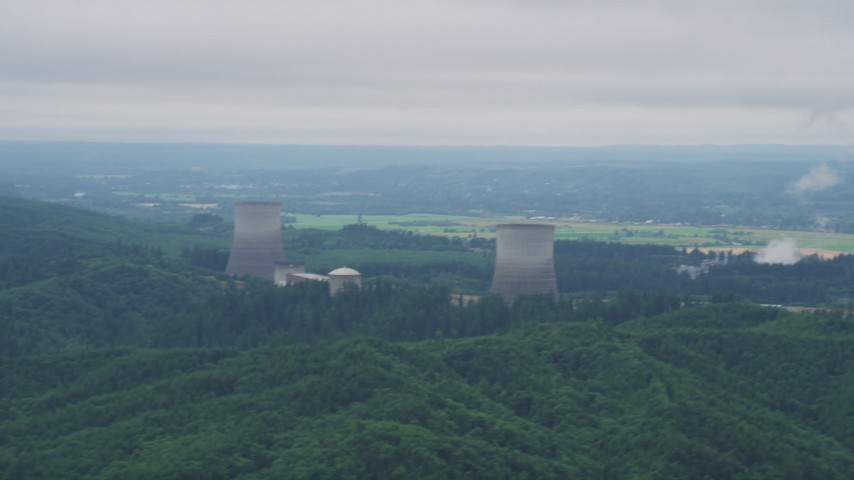 5K stock footage aerial video of Satsop Nuclear Power Plant, farmland in the background, Washington Aerial Stock Footage | AX57_010