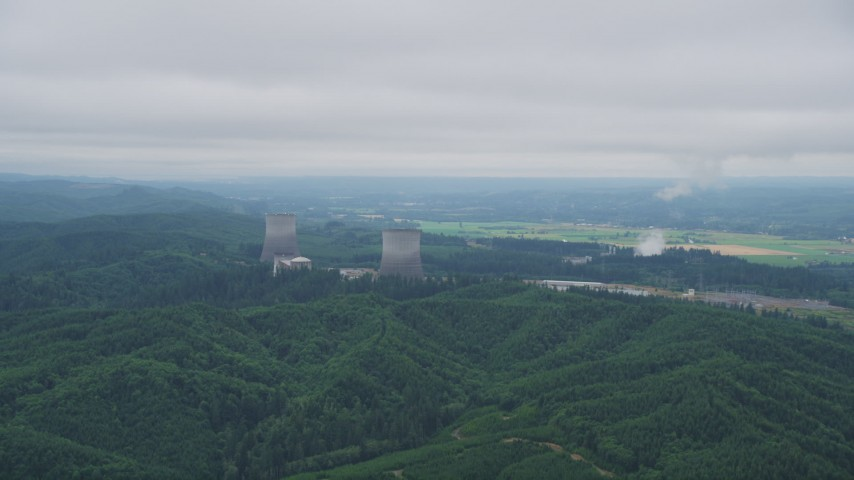 5K stock footage aerial video of flying by the Satsop Nuclear Power Plant, Satsop, Washington Aerial Stock Footage | AX57_011