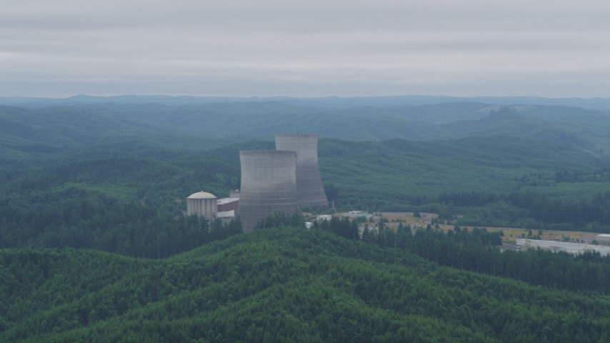 5K stock footage aerial video of two cooling towers at the Satsop Nuclear Power Plant, Satsop, Washington Aerial Stock Footage | AX57_013