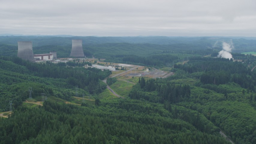5K stock footage aerial video of the Satsop Nuclear Power Plant in Satsop, Washington Aerial Stock Footage | AX57_014