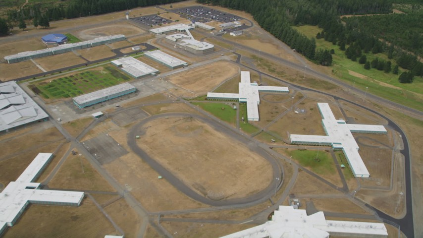 5K stock footage aerial video fly over the Washington Corrections Center, Shelton, Washington Aerial Stock Footage | AX57_035