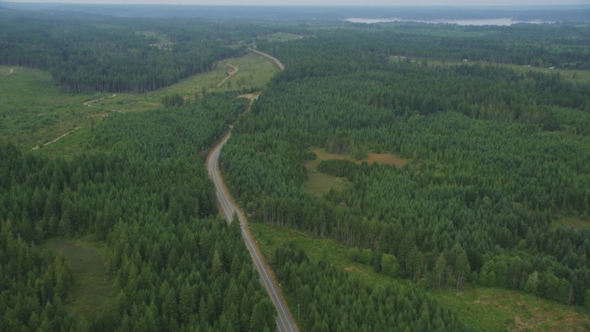 5K stock footage aerial video of two lane road through evergreen forest and logging areas in Grapeview, Washington Aerial Stock Footage | AX58_015