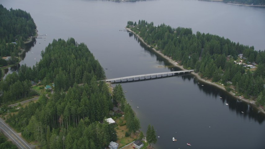 5K stock footage aerial video of Treasure Island Road bridge connecting Grapeview, Washington to Reach Island Aerial Stock Footage | AX58_022