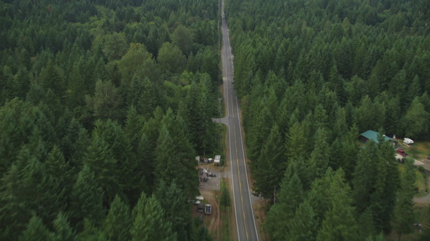 5K stock footage aerial video of following Wright Bliss Road past a few rural homes in Gig Harbor, Washington Aerial Stock Footage | AX58_031