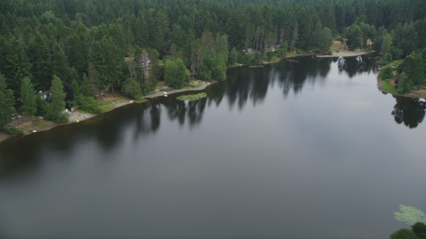 5K aerial  video of lakeside homes by Stansberry Lake in Gig Harbor, Washington Aerial Stock Footage | AX58_036