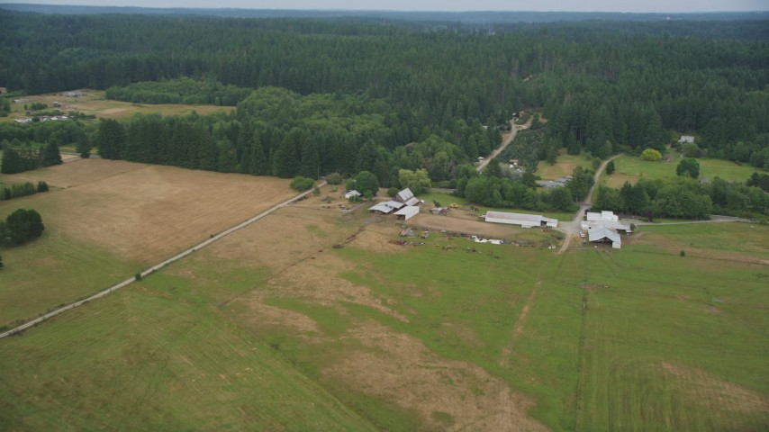 5K stock footage aerial video fly over the fields of a small farm in Gig Harbor, Washington Aerial Stock Footage | AX58_039