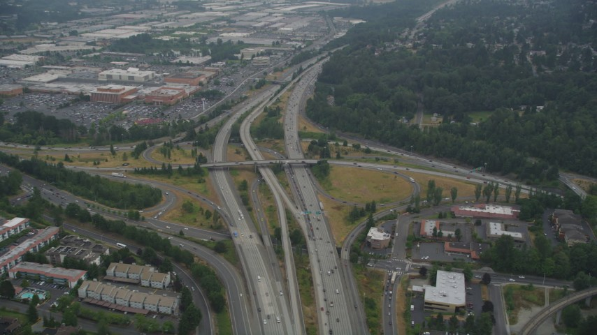 5K stock footage aerial video of I-405 / I-5 interchange with light traffic in Tukwila, Washington Aerial Stock Footage | AX58_076