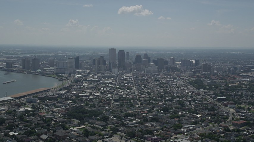 5K aerial video of Downtown New Orleans and the French Quarter, Louisiana Aerial Stock Footage | AX59_004