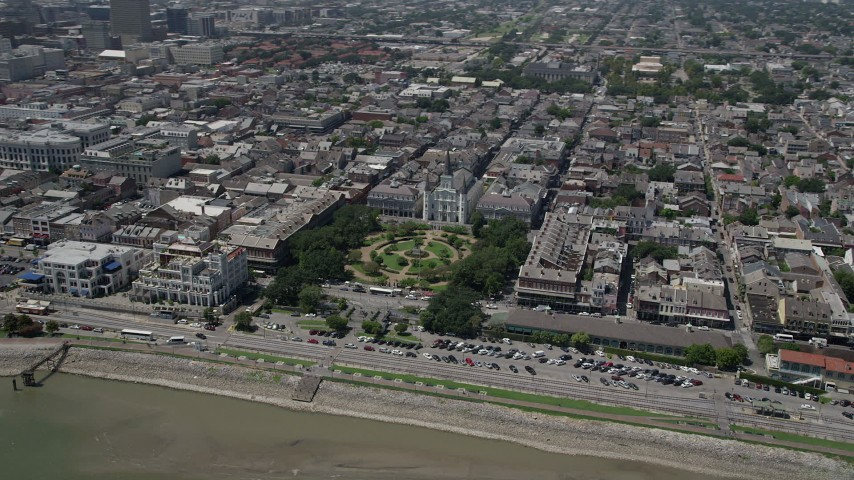 5K aerial video of the St. Louis Cathedral and Jackson Square, French Quarter, New Orleans, Louisiana  Aerial Stock Footage | AX59_016