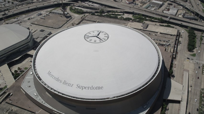5K stock footage aerial video approach the Mercedes-Benz Superdome, Downtown New Orleans, Louisiana Aerial Stock Footage AX59_019 | Axiom Images