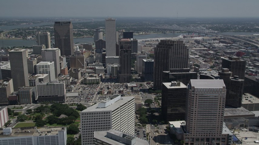 5K aerial video fly over Downtown New Orleans, Louisiana to approach skyscrapers Aerial Stock Footage | AX59_023