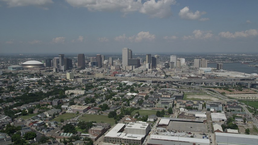 5K stock footage aerial video of Downtown New Orleans seen from the Garden District, Louisiana Aerial Stock Footage | AX59_026