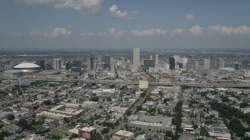 5K stock footage aerial video of Downtown New Orleans skyscrapers, viewed from the Garden District, Louisiana Aerial Stock Footage | AX59_027