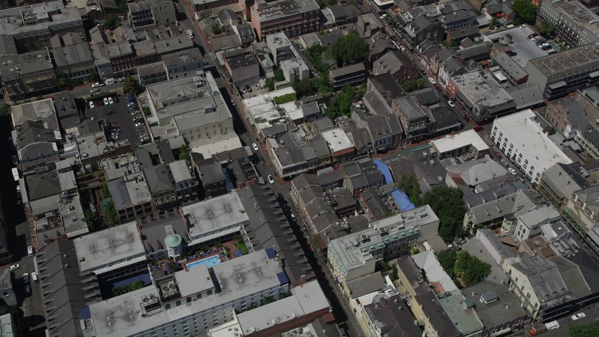 5K stock footage aerial video of bird's eye view of city streets and buildings in the French Quarter, New Orleans, Louisiana Aerial Stock Footage | AX59_033