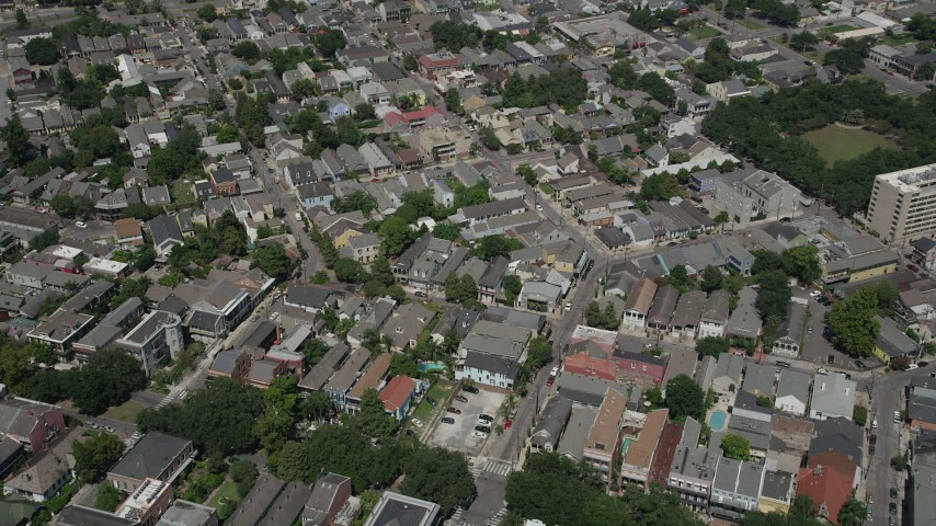 5K stock footage aerial video bird's eye view of streets, apartments, and town homes in the historic French Quarter, New Orleans, Louisiana Aerial Stock Footage | AX59_034