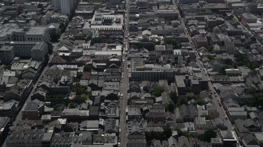 5K stock footage aerial video tilt to a bird's eye view of Bourbon Street in the French Quarter, New Orleans, Louisiana Aerial Stock Footage | AX59_035