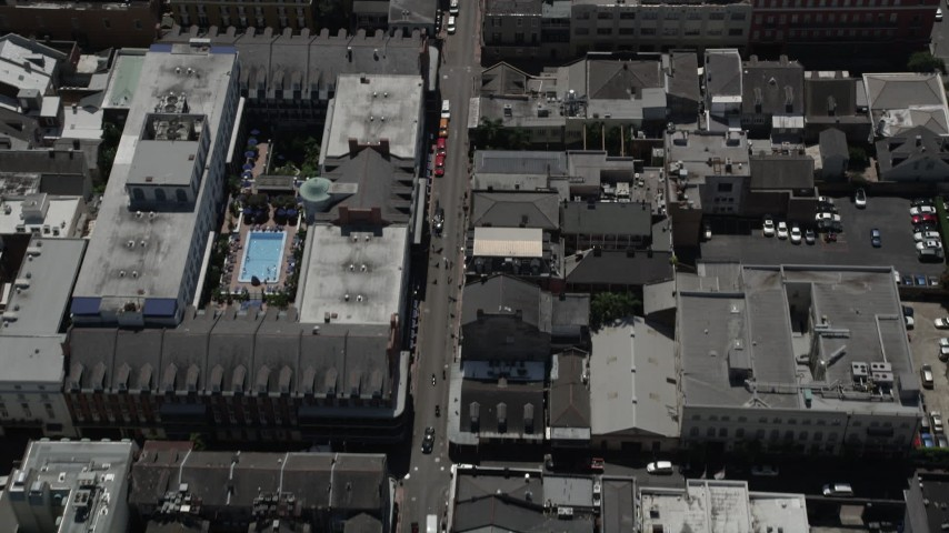 5K stock footage aerial video bird's eye view of famous Bourbon Street through the French Quarter, New Orleans, Louisiana Aerial Stock Footage | AX59_036