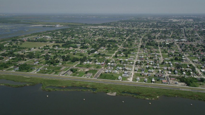 5K aerial video of Lower Ninth Ward neighborhoods in New Orleans, Louisiana Aerial Stock Footage | AX59_050