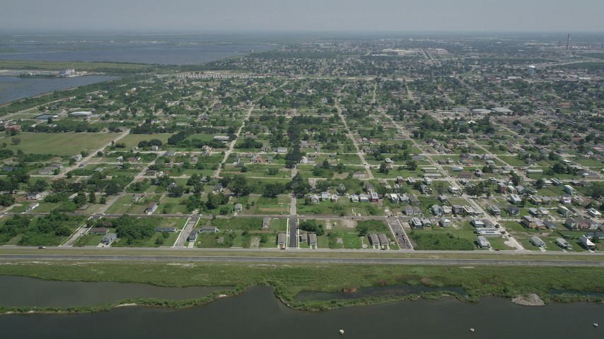 5K stock footage aerial video of neighborhoods of the Lower Ninth Ward, New Orleans, Louisiana Aerial Stock Footage | AX59_051