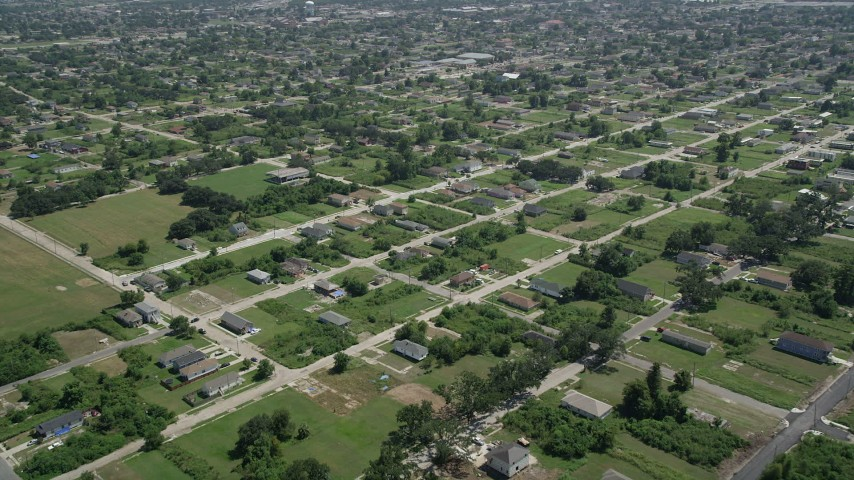 5K aerial video fly over homes in Lower Ninth Ward, New Orleans, Louisiana Aerial Stock Footage | AX59_052