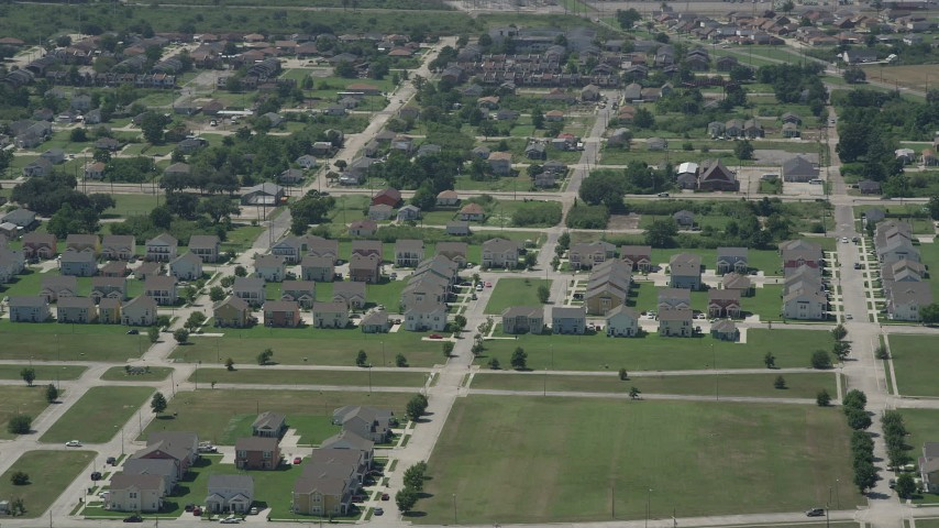 5K stock footage aerial video flyby homes in Upper Ninth Ward, New Orleans, Louisiana Aerial Stock Footage | AX59_060