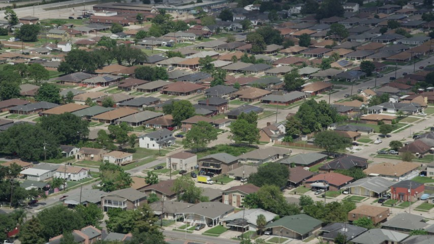 5K aerial video of a residential neighborhood in New Orleans East, Louisiana Aerial Stock Footage | AX59_065