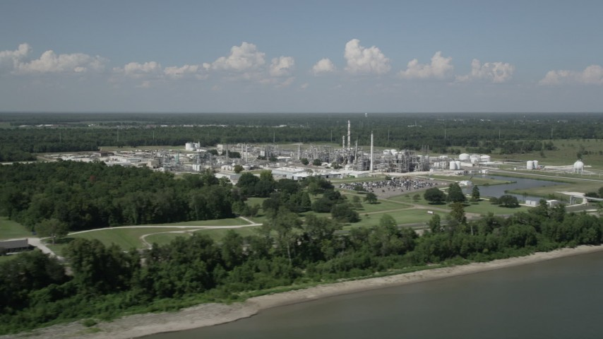 5K aerial video of flying away from the Dupont Chemical Plant in LaPlace, Louisiana Aerial Stock Footage | AX60_017