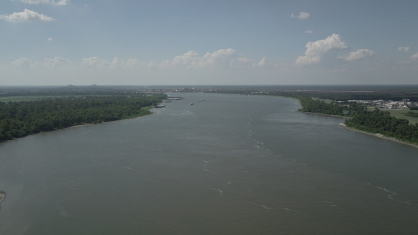 5K stock footage aerial video of a view of the Mississippi River by Edgard, Louisiana Aerial Stock Footage | AX60_023