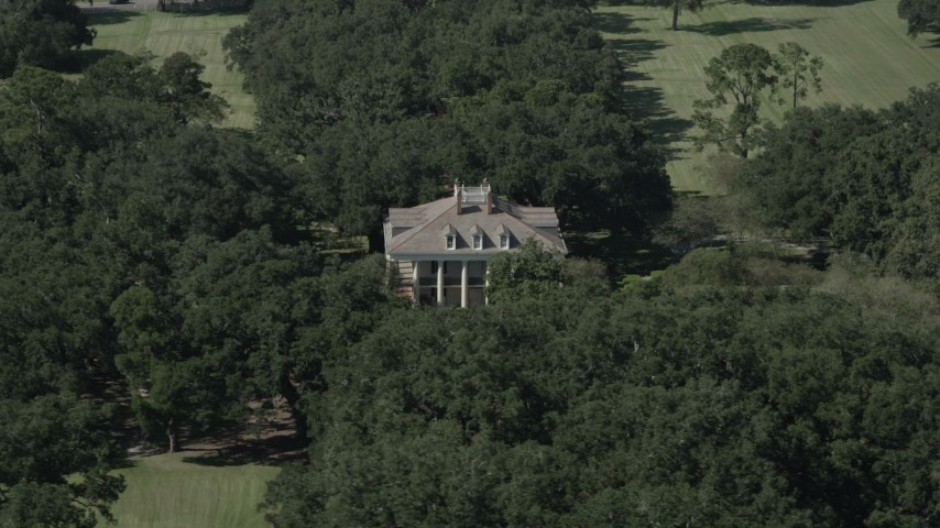 5K stock footage aerial video of an orbit around the Oak Valley Plantation house in Vacherie, Louisiana Aerial Stock Footage | AX60_042