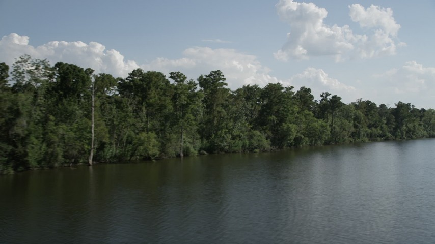 5K stock footage aerial video fly low over the river past trees and swamp in St. John the Baptist Parish, Louisiana Aerial Stock Footage | AX60_074
