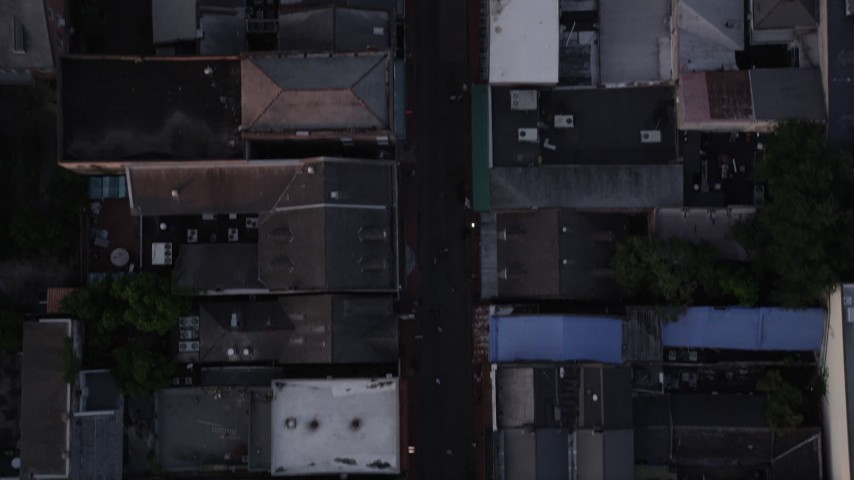 5K aerial video of bird's eye of famous Bourbon Street in the New Orleans French Quarter, Louisiana at twilight Aerial Stock Footage | AX61_048