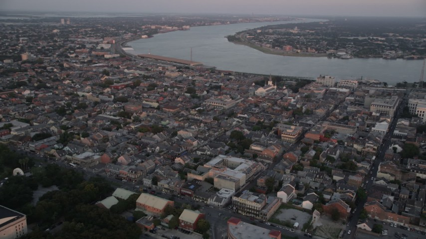 5K aerial video of New Orleans' famous French Quarter at sunset, Louisiana Aerial Stock Footage AX61_060