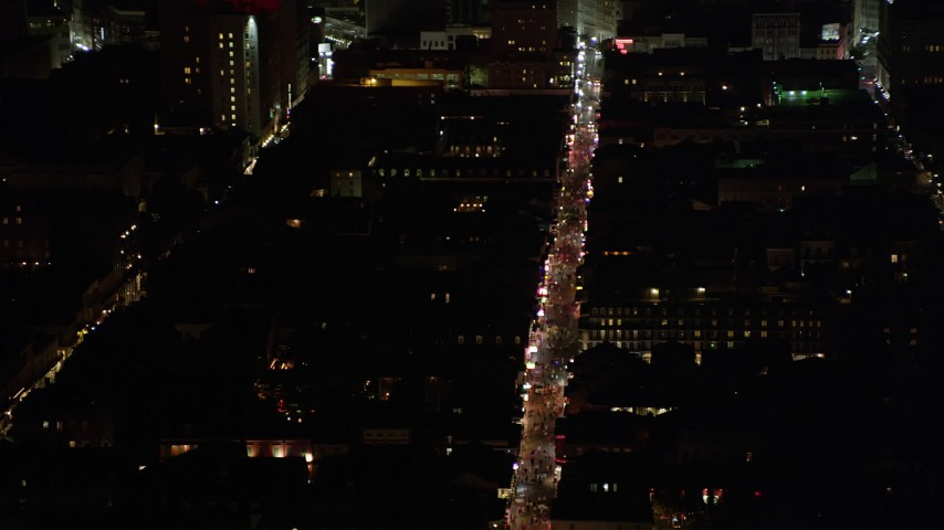 5K stock footage aerial video flyby French Quarter to reveal Bourbon Street at night, New Orleans, Louisiana Aerial Stock Footage | AX62_041