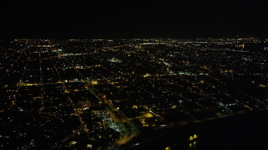 5K stock footage aerial video of neighborhoods in the Upper Ninth Ward at night, New Orleans, Louisiana Aerial Stock Footage | AX63_043