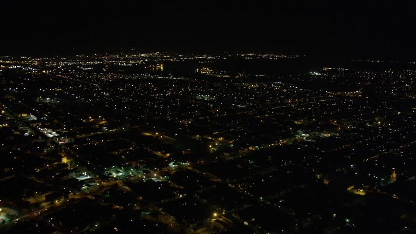5K stock footage aerial video flyby neighborhoods in Upper Ninth Ward at night, New Orleans, Louisiana Aerial Stock Footage | AX63_044