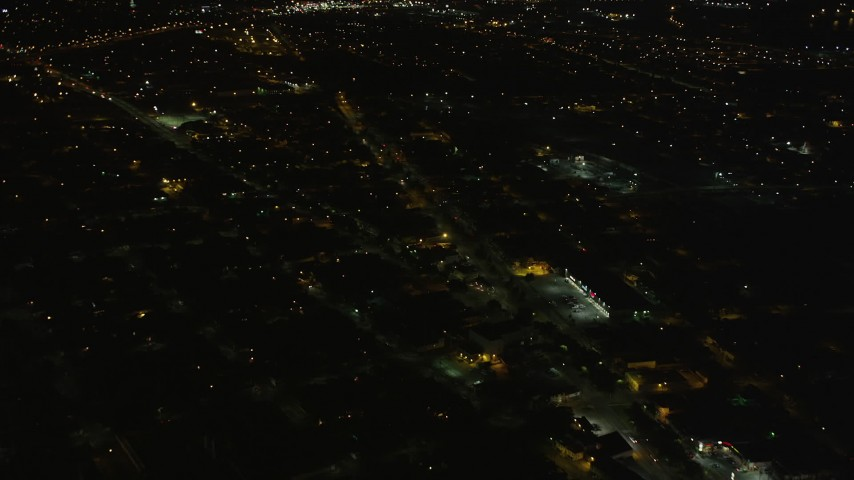 5K stock footage aerial video fly over streets and neighborhoods in Upper Ninth Ward at night, New Orleans, Louisiana  Aerial Stock Footage | AX63_045