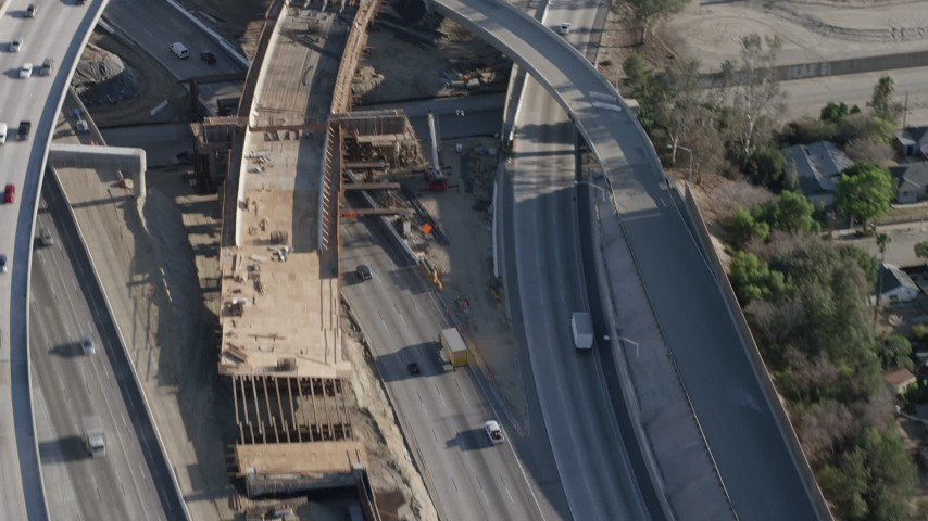 1080 aerial video flyby I-5 and 118 interchange in Pacoima