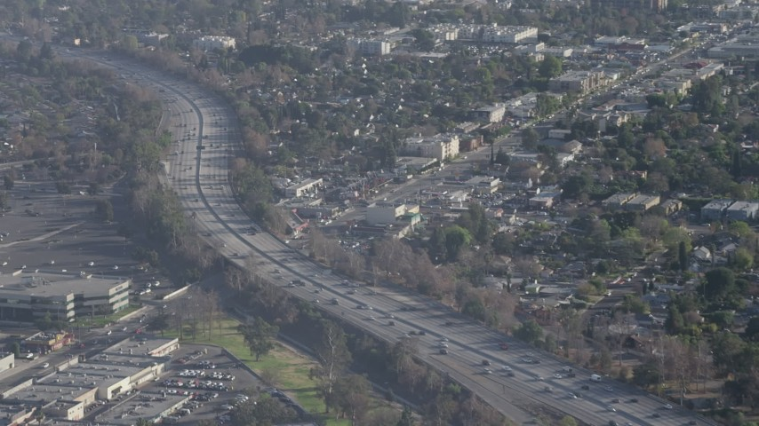 5K stock footage aerial video of light traffic on Highway 170 in North Hollywood, California Aerial Stock Footage | AX64_0007