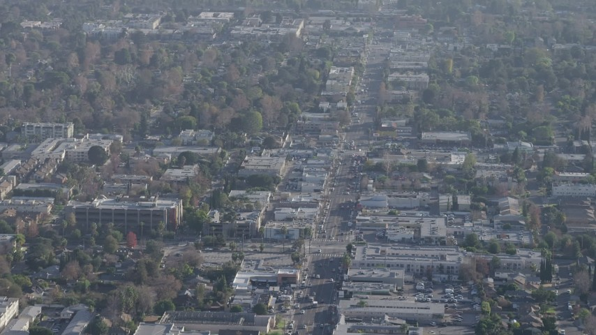 5K stock footage aerial video of office and apartment buildings around a busy intersection in North Hollywood, California Aerial Stock Footage | AX64_0008