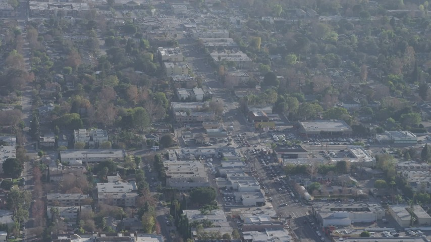5K stock footage aerial video of office and apartment buildings along Laurel Canyon Boulevard in North Hollywood, California Aerial Stock Footage | AX64_0009