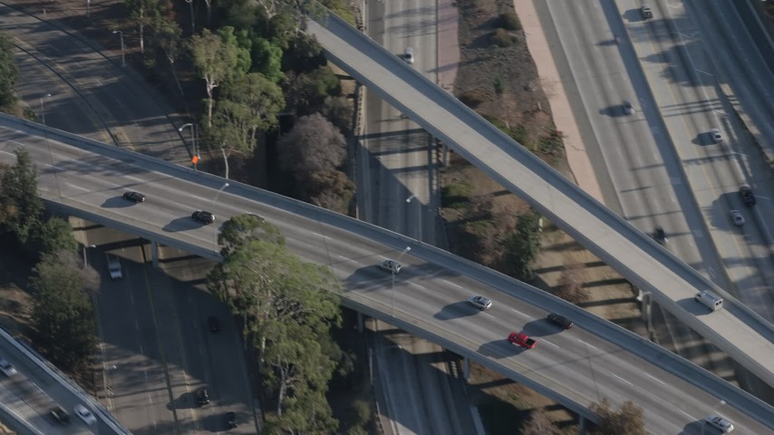 5K stock footage aerial video of light traffic on the Highway 170 interchange with Highway 134 in North Hollywood, California Aerial Stock Footage | AX64_0011