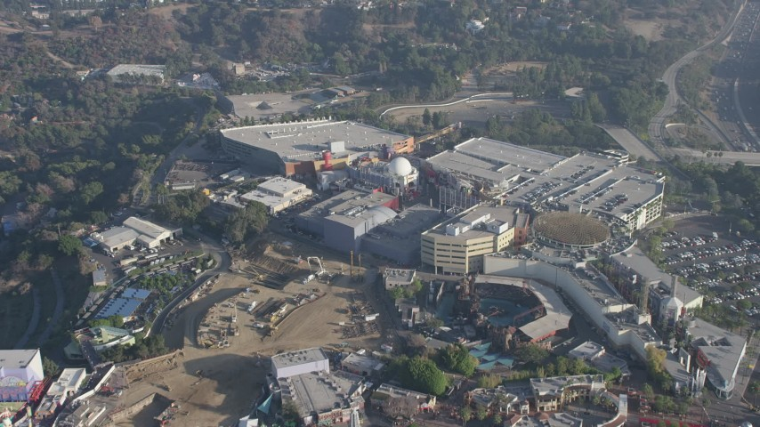 5K stock footage aerial video fly over the theme park in Universal City, California Aerial Stock Footage | AX64_0013