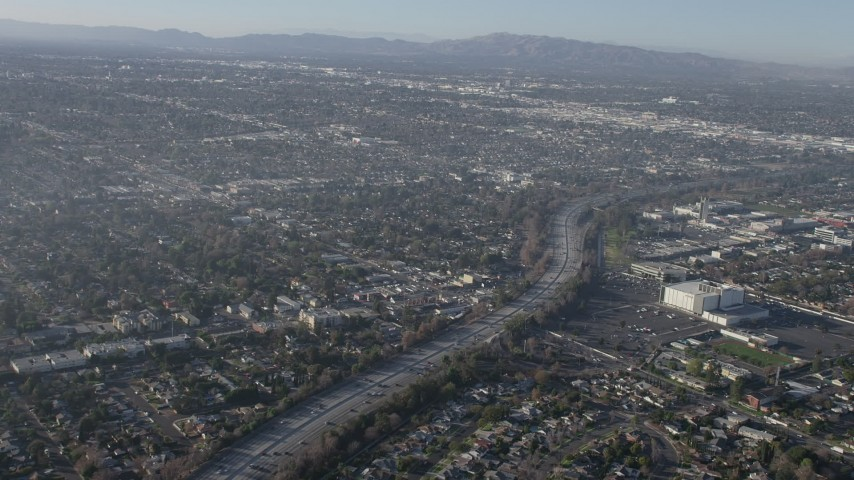 5K stock footage aerial video of light traffic on Highway 170 and suburban neighborhoods, North Hollywood, California Aerial Stock Footage | AX64_0029